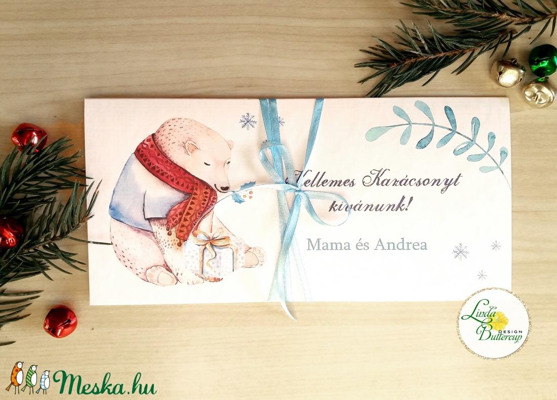 Karácsonyi ajándék, Pénzátadó boríték, utalvány átadó, céges ajándék, pénz, képeslap, személyre szóló, jegesmedve, maci - otthon & lakás - papír írószer - boríték - Meska.hu