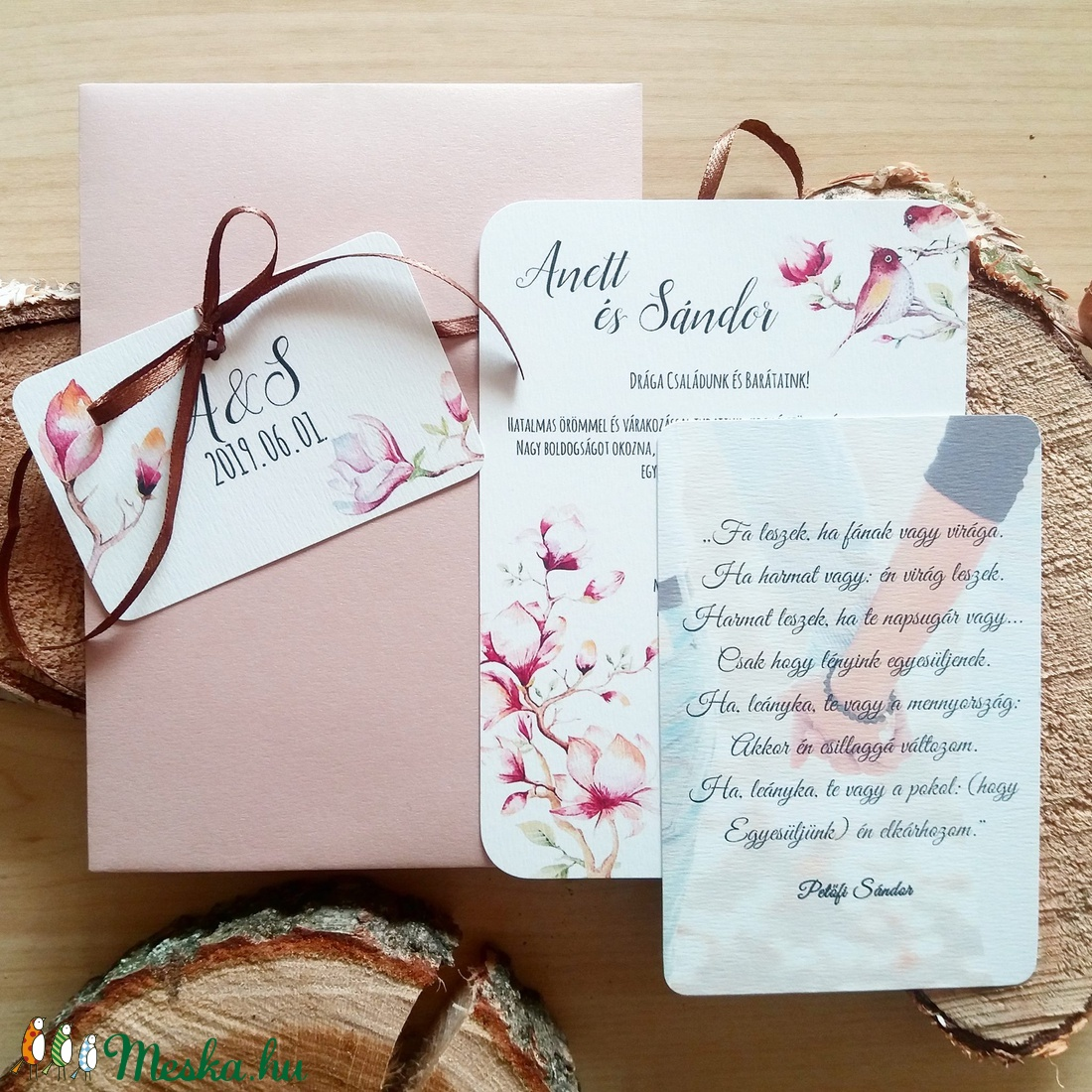 37a49af5c5 Magnóliafa, Esküvői meghívó, tulipán fa, magnólia, madár, madaras, rózsa,  elegáns, romantikus, virágos meghívó, meghívó