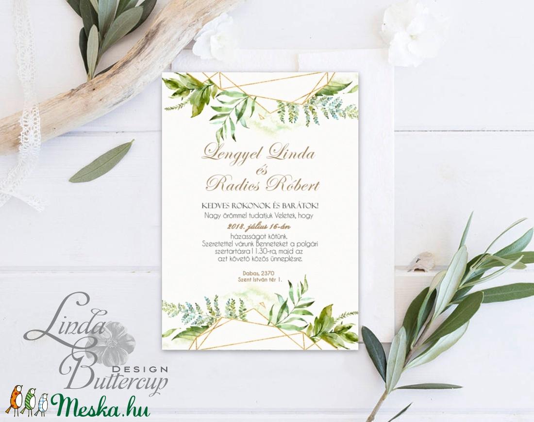 Greenery Meghívó, Esküvői meghívó, Természet közeli, natúr, vízfesték, Esküvői kártya, virágos, rét, vadvirág, zöld - esküvő - meghívó & kártya - meghívó - Meska.hu