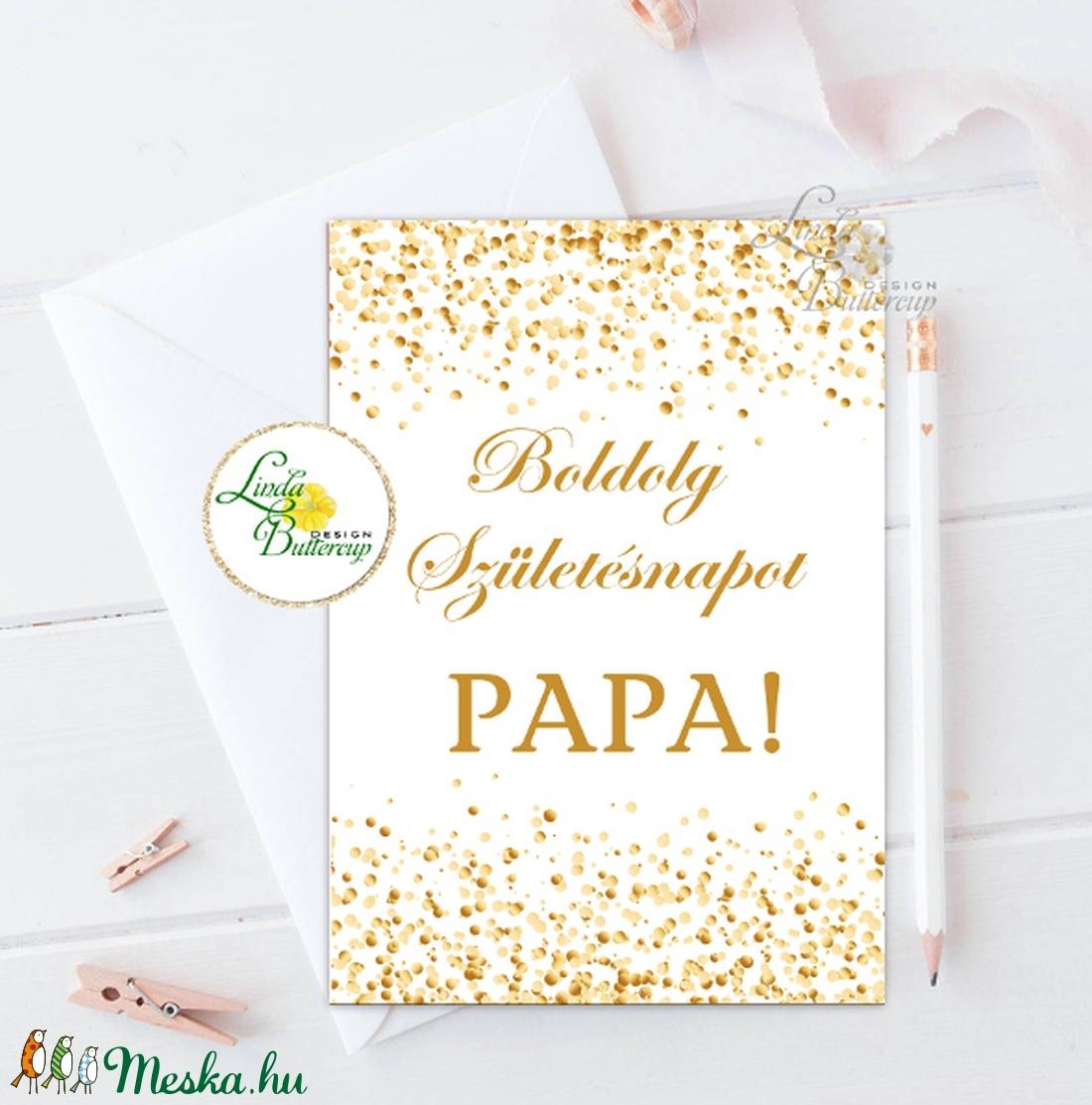 Szülinapi Képeslap, Születésnap, lap, üdvözlőlap, ajándék, névre szóló, egyedi, papa, mama, arany, aranykor (LindaButtercup) - Meska.hu