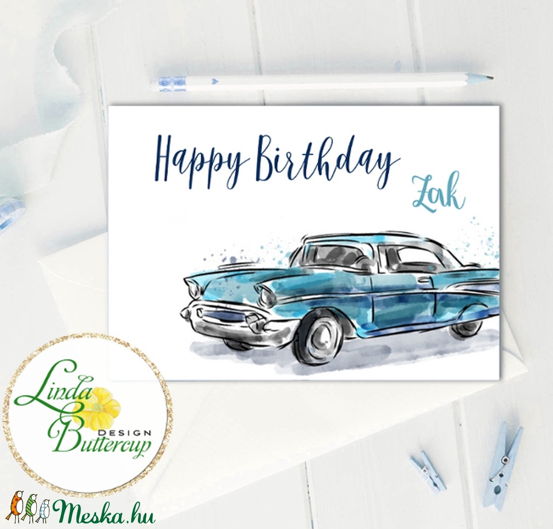 Szülinapi Képeslap, Születésnap, lap, üdvözlőlap, ajándék, egyedi, névre szóló, autós, autó, fiús, kék (LindaButtercup) - Meska.hu