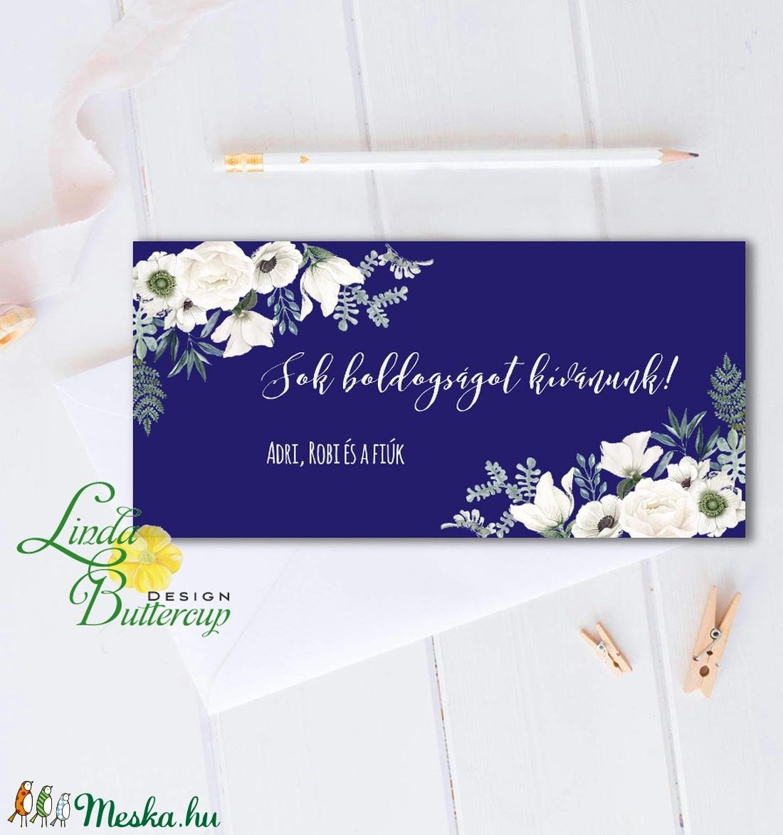 Pénzátadó boríték, Nászajándék, Gratulálunk képeslap, Esküvői Gratuláció, virágos, pénz átadó lap, kék, rózsás - otthon & lakás - papír írószer - boríték - Meska.hu
