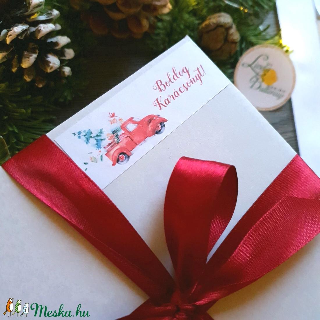 MATRICA, 14db, piros autó, fenyő, címke, Karácsonyi Ajándékkísérő, cédula, vignetta, levonó, sticker - karácsony - karácsonyi ajándékozás - karácsonyi képeslap, üdvözlőlap, ajándékkísérő - Meska.hu