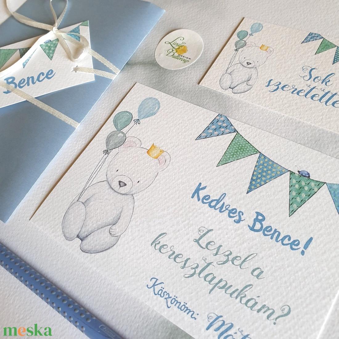 Kersztszülő felkérő, Maci, kisfiú, Keresztapa felkérő lap, Keresztelő meghívó, baba lap, képeslap, keresztszülő - otthon & lakás - papír írószer - képeslap & levélpapír - Meska.hu