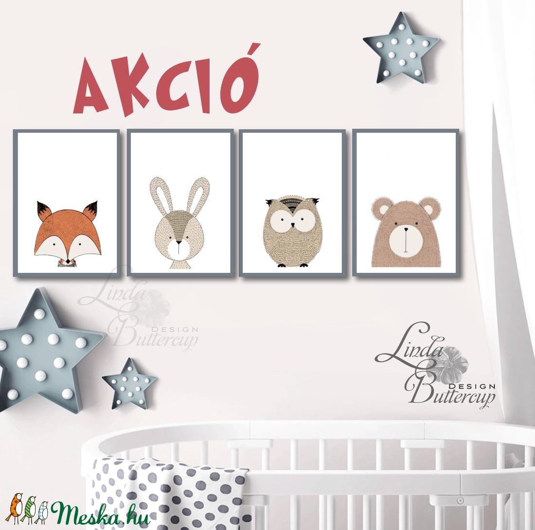 Állatos, Babaszoba fali dekoráció, maci, róka, bagoly, nyuszi, nyúl, fali kép, minimal design, A4 méret - otthon & lakás - dekoráció - kép & falikép - Meska.hu