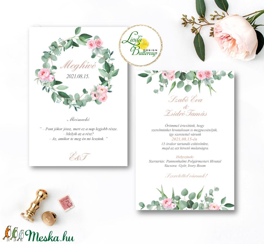 Levélkoszorú meghívó Pink - Greenery, Rózsaszín virágos, Zöld leveles esküvői meghívó, bazsarózsa - esküvő - meghívó & kártya - meghívó - Meska.hu