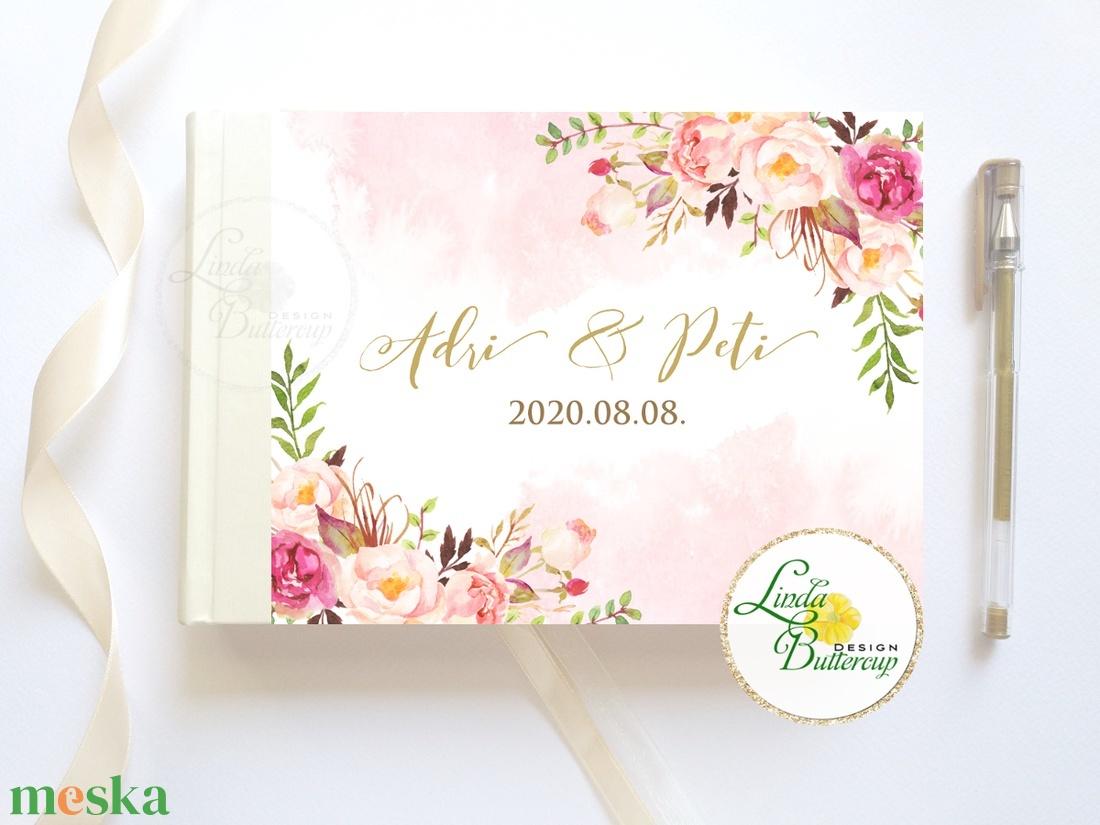 Púder rosegold, rózsás Esküvői Emlékkönyv, Vendégkönyv, könyv, Esküvői vendégkönyv, vízfesték - esküvő - emlék & ajándék - vendégkönyv - Meska.hu