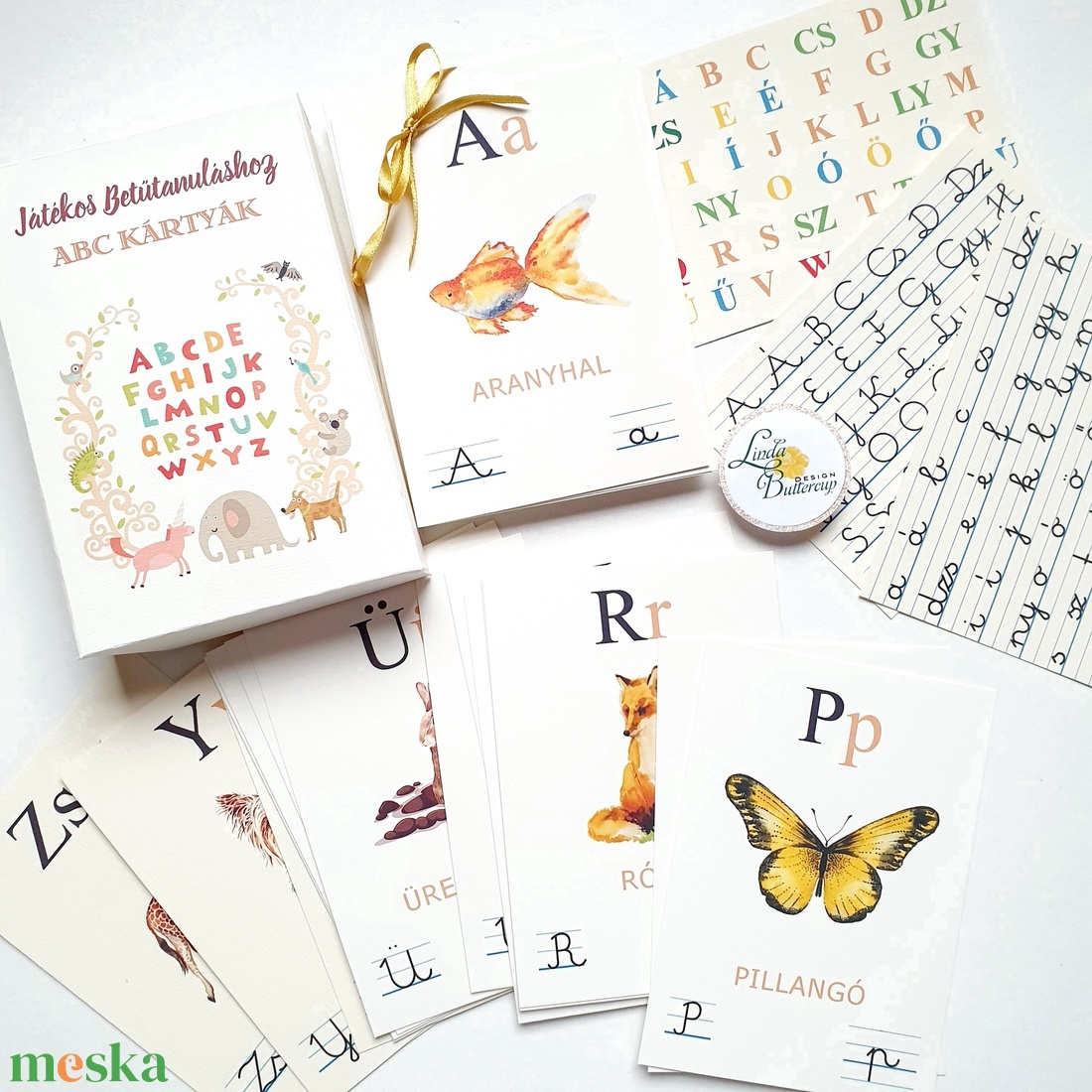 ABC kártya, 44 db-os kiterjesztett magyar ábécé kártya szett dobozban - játék & gyerek - készségfejlesztő & logikai játék - Meska.hu