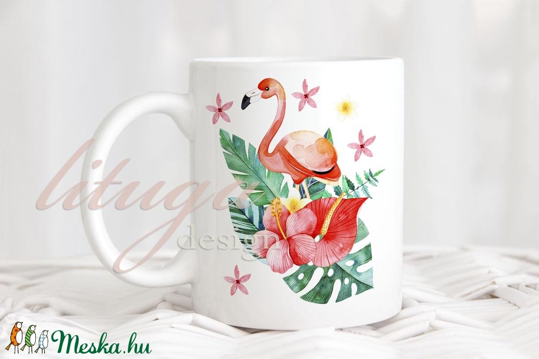 Flamingós bögre - Trópusi virágos bögre2 (lituga) - Meska.hu