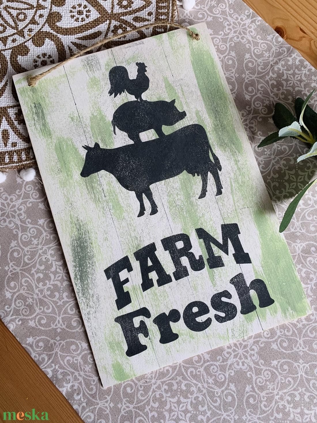 Farm Fresh - Farmhouse tábla - otthon & lakás - dekoráció - falra akasztható dekor - Meska.hu