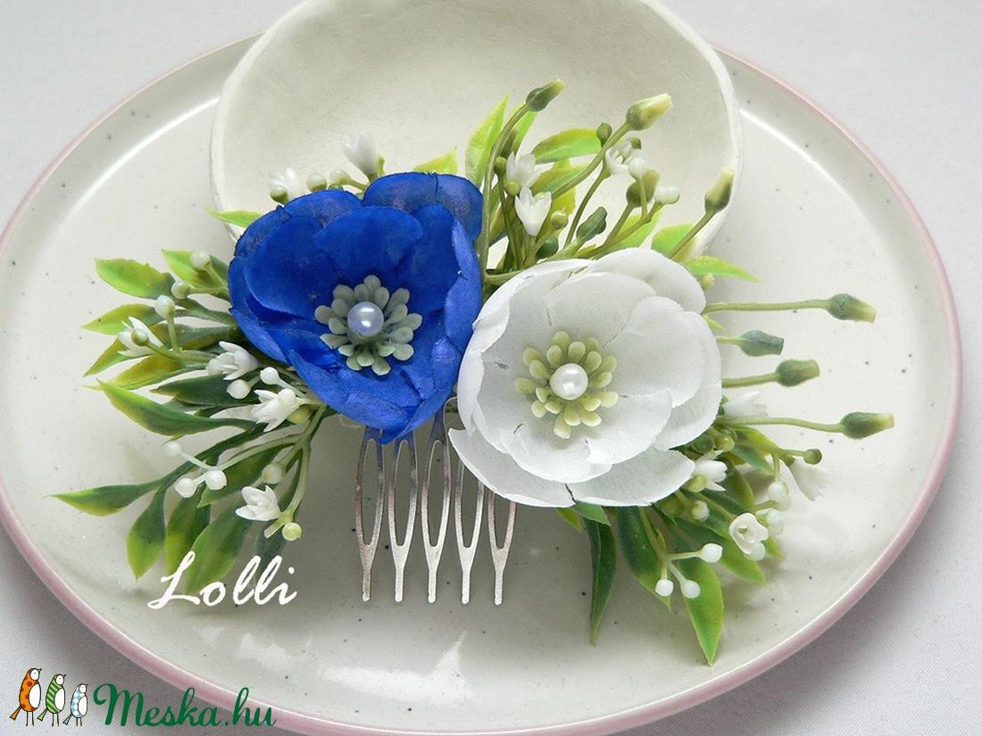 Kék-fehér menyasszonyi fejdísz (Lolli) - Meska.hu