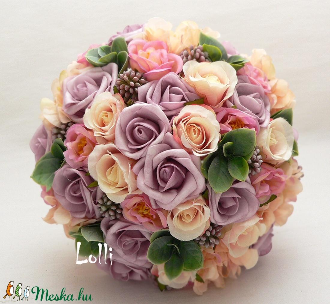 MagicPeach rózsás menyasszonyi örökcsokor (Lolli) - Meska.hu