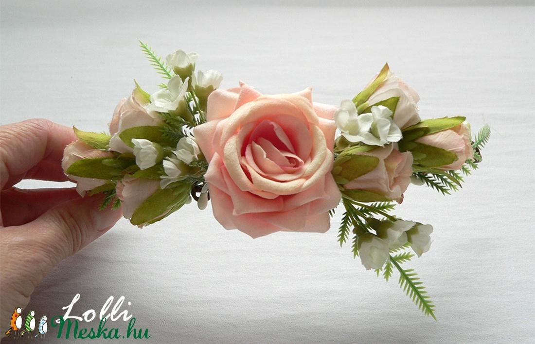 Barack rózsás menyasszonyi fejdísz, kontydísz, negyed fejkoszorú (Lolli) - Meska.hu
