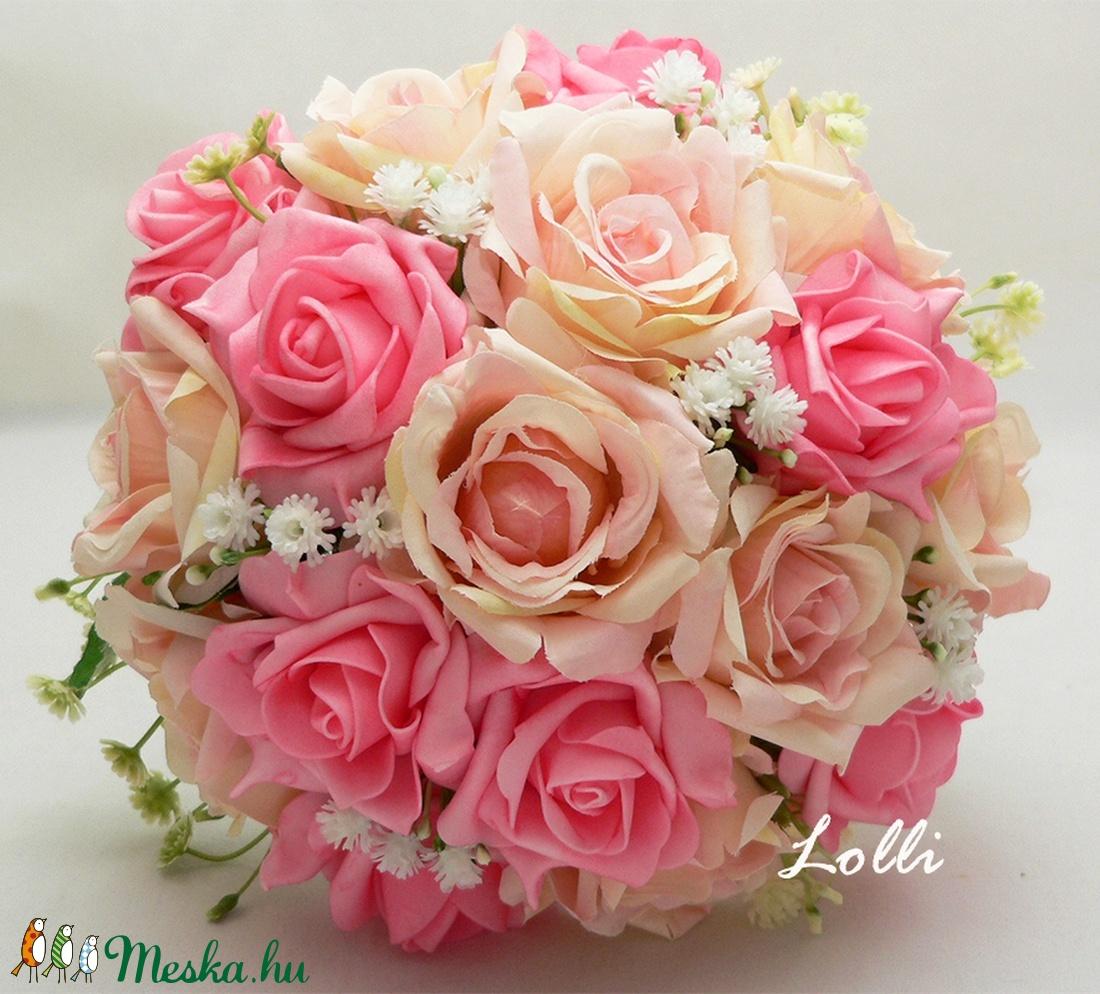 Pink - rózsasszín menyasszonyi örökcsokor (Lolli) - Meska.hu