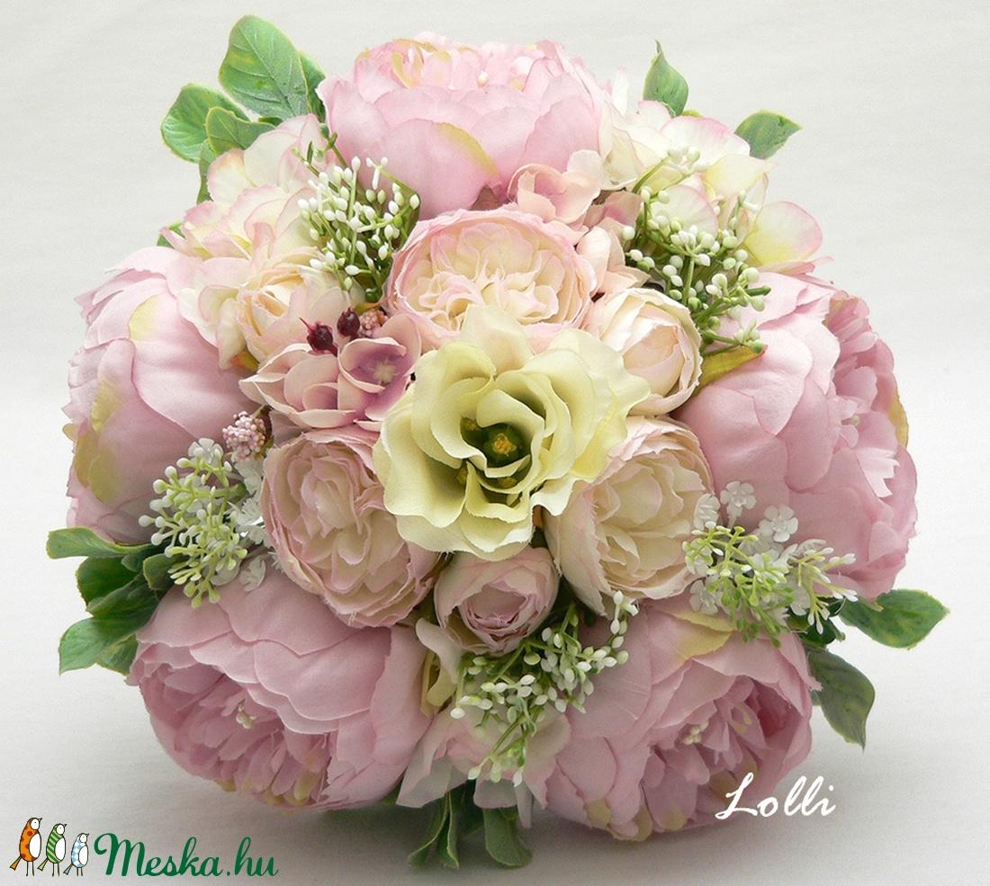 Rózsaszín - vanília menyasszonyi örökcsokor (Lolli) - Meska.hu