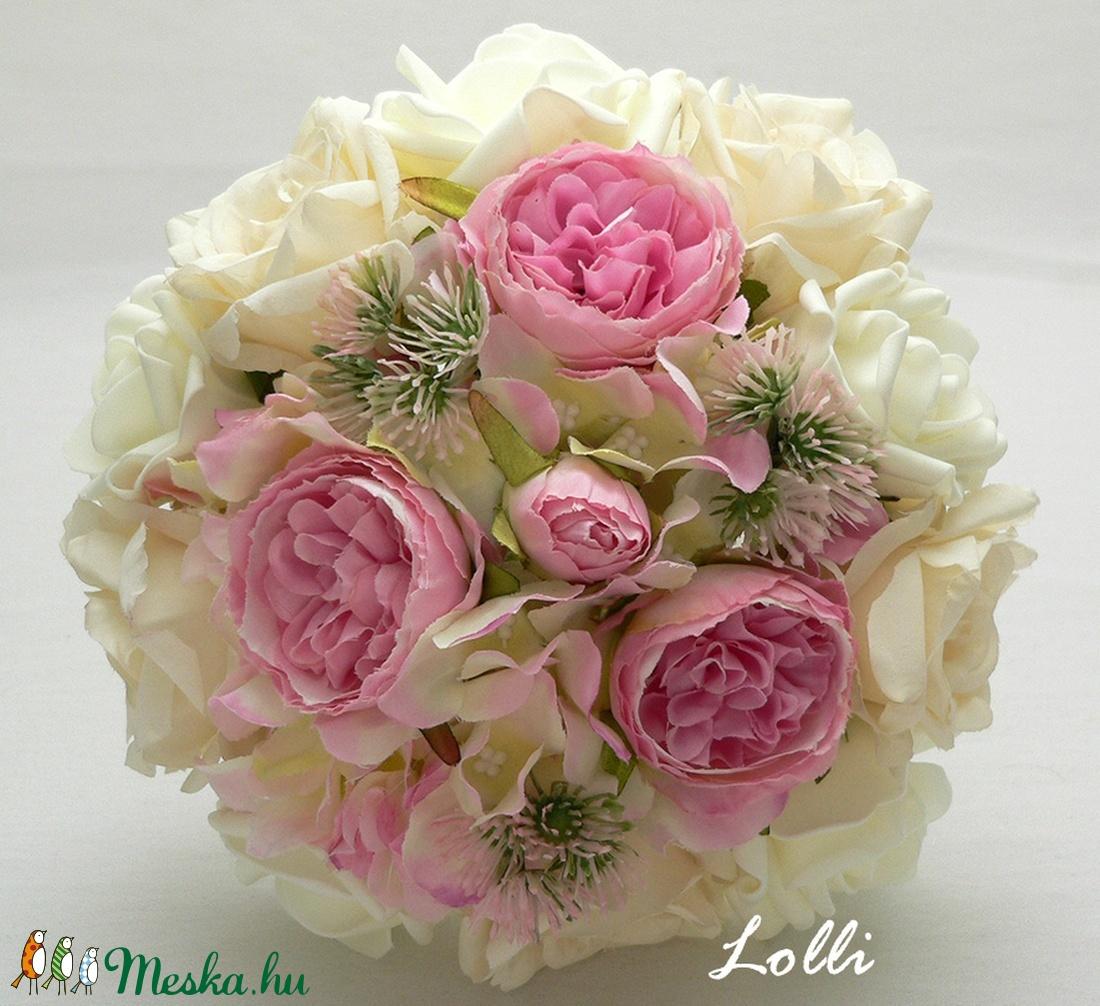 Ekrü-pink menyasszonyi örökcsokor (Lolli) - Meska.hu