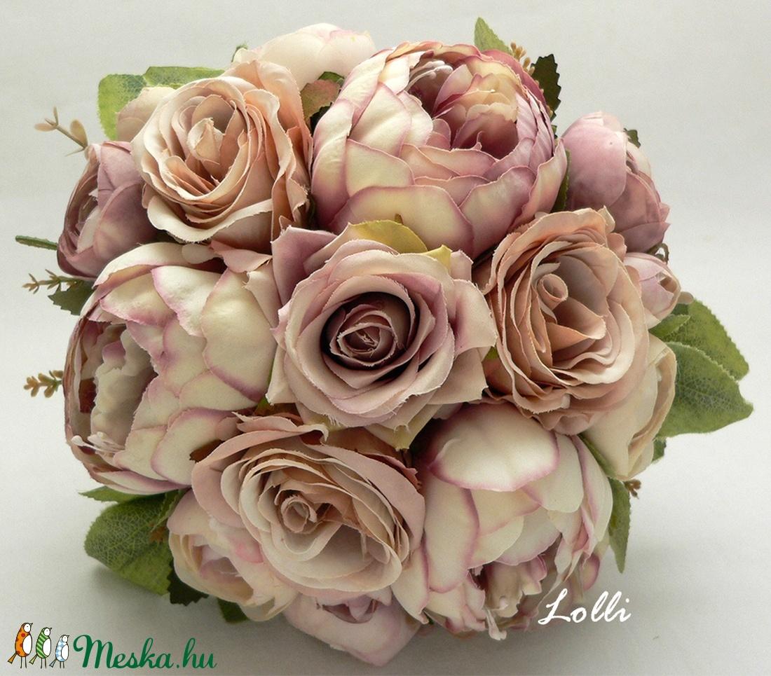Pasztell rózsás menyasszonyi örökcsokor (Lolli) - Meska.hu