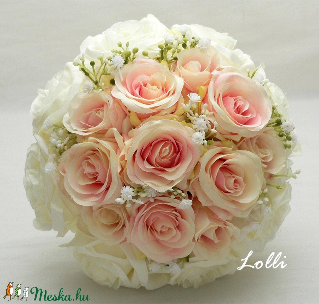 Romantikus Ekrü - Rózsaszín rózsás menyasszonyi örökcsokor (Lolli) - Meska.hu