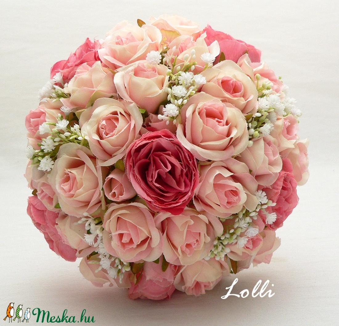 Pink-Rózsaszín rózsás menyasszonyi örökcsokor (Lolli) - Meska.hu