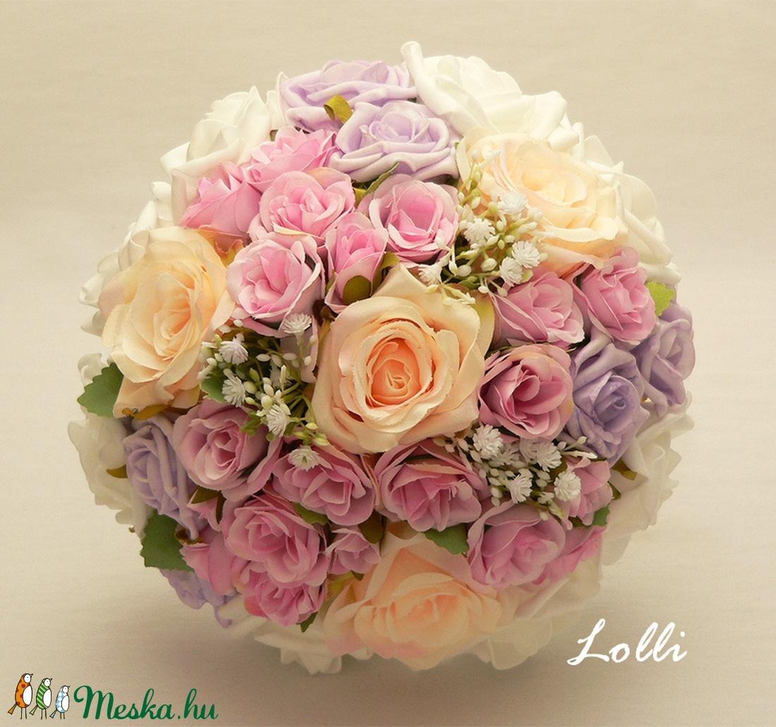 Pink-barack-lila rózsás menyasszonyi örökcsokor - Meska.hu