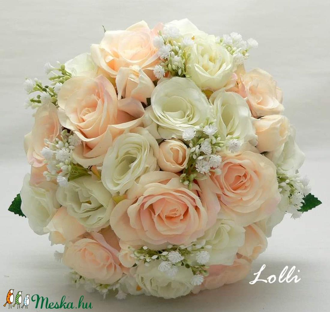 Barack-ekrü rózsás menyasszonyi örökcsokor (Lolli) - Meska.hu