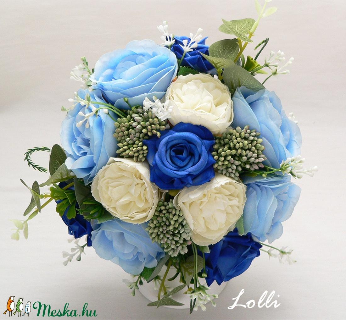 Kék rózsás menyasszonyi örökcsokor (Lolli) - Meska.hu