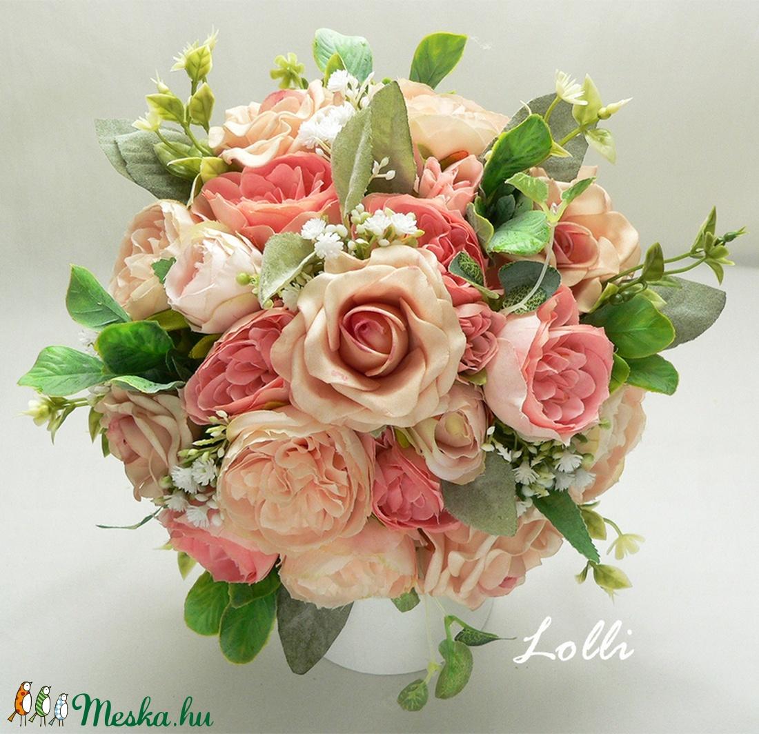 Barack rózsás menyasszonyi örökcsokor (Lolli) - Meska.hu
