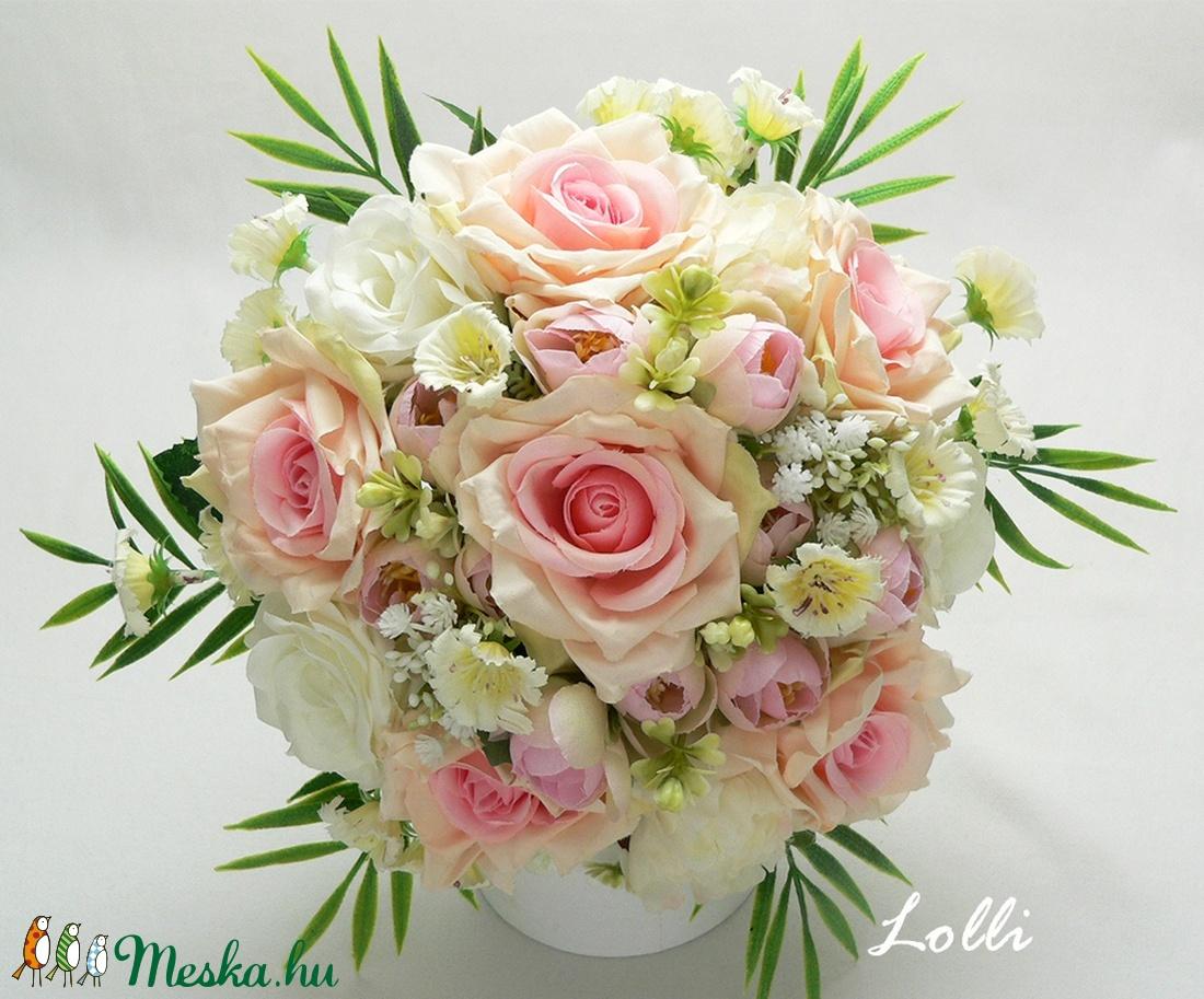 Ekrü - Rózsaszín rózsás menyasszonyi örökcsokor (Lolli) - Meska.hu