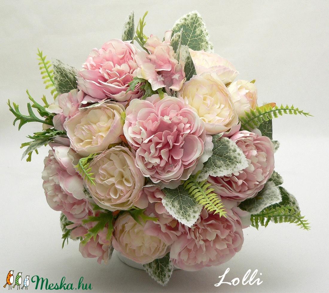 Rózsaszín rózsás menyasszonyi örökcsokor (Lolli) - Meska.hu