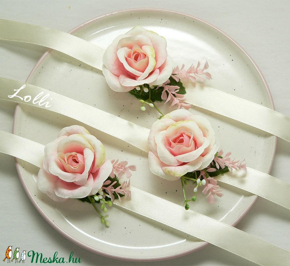 3db rózsaszín rózsás csuklódísz esküvőre, szalagavatóra - Meska.hu