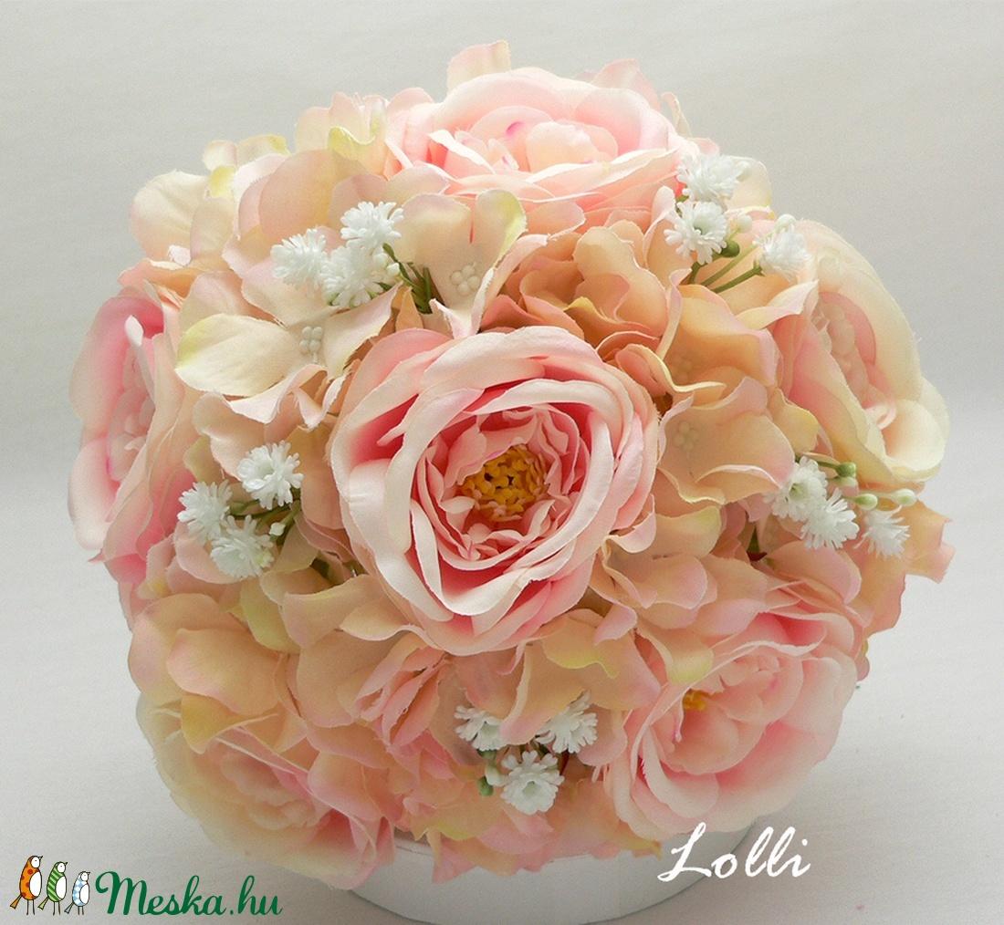 Rózsaszín rózsás örökcsokor, menyasszonyi csokor - Meska.hu