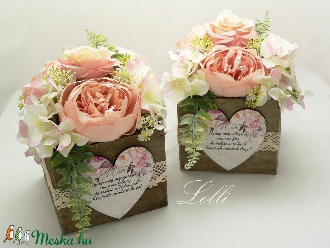 Vintage rózsás szülőköszöntő selyemvirágdobozok párban - esküvő - emlék & ajándék - szülőköszöntő ajándék - Meska.hu
