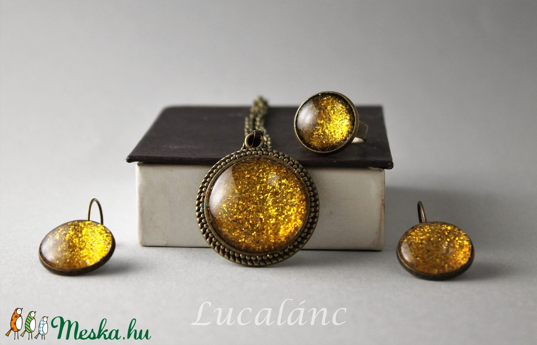 Csillogó arany szett (Lucalanc) - Meska.hu