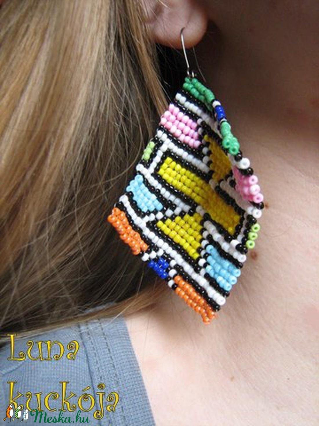 Afrikai textilmintás fülbevaló (LunaKuckoja) - Meska.hu