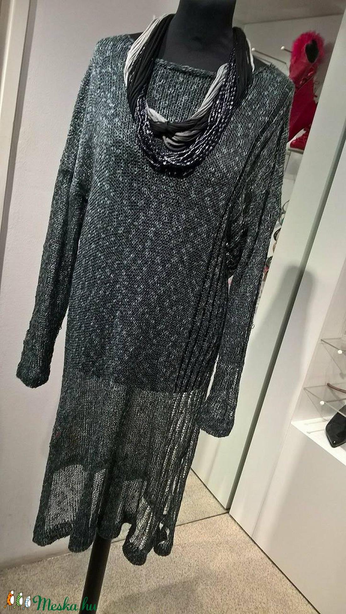 Szürkéskék  áttetsző  pulóver - ruha & divat - női ruha - pulóver & kardigán - Meska.hu