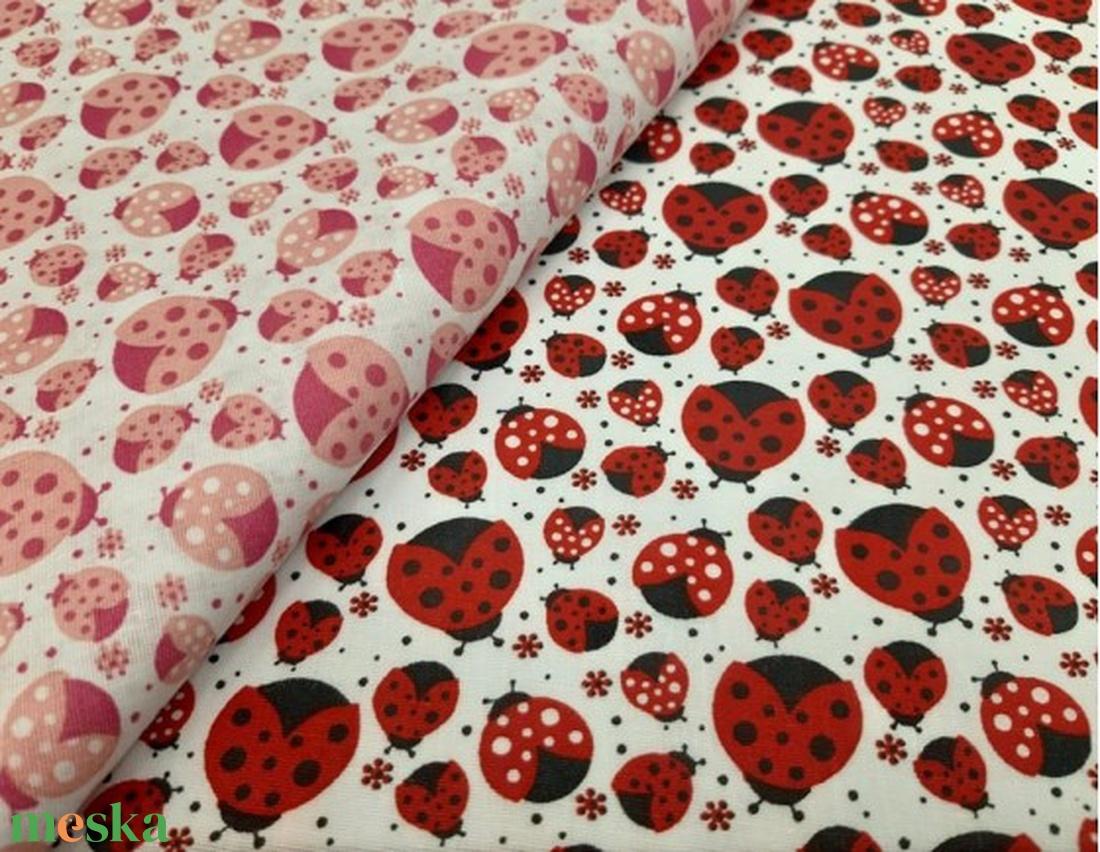 Rózsaszín katicák  - kombináld pöttyössel, egyszínűvel- csajos -100% pamut  textilek - textil - pamut - Meska.hu
