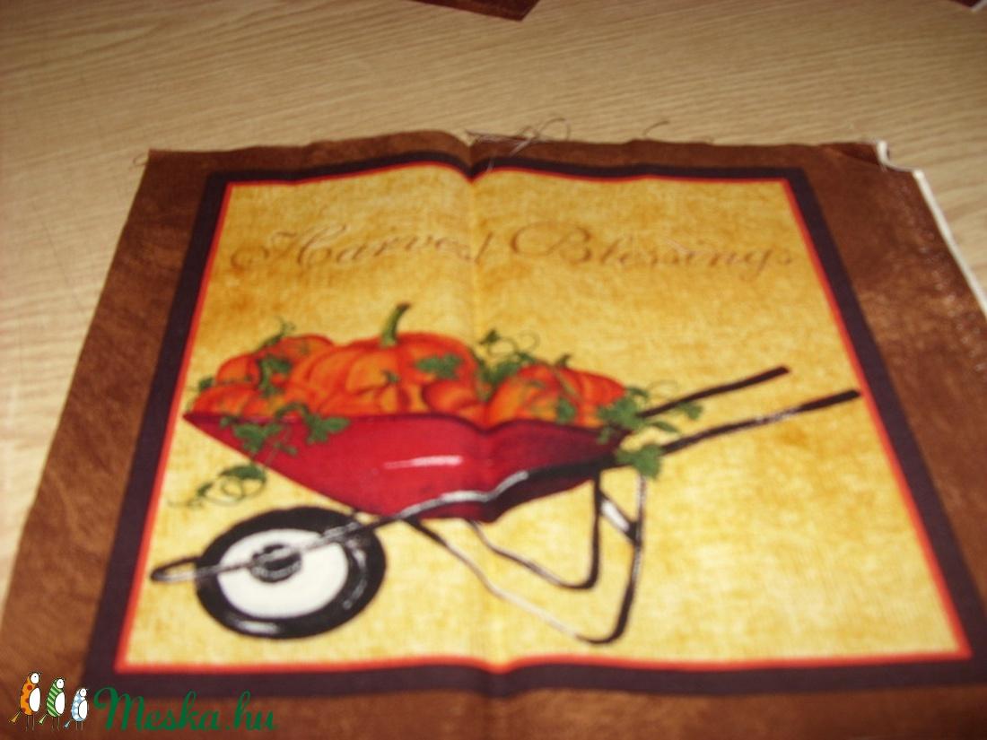 8  blokkos őszi hangulat - sütőtökös is USA design minőségi textil:  20 x 20 cm - textil - pamut - Meska.hu