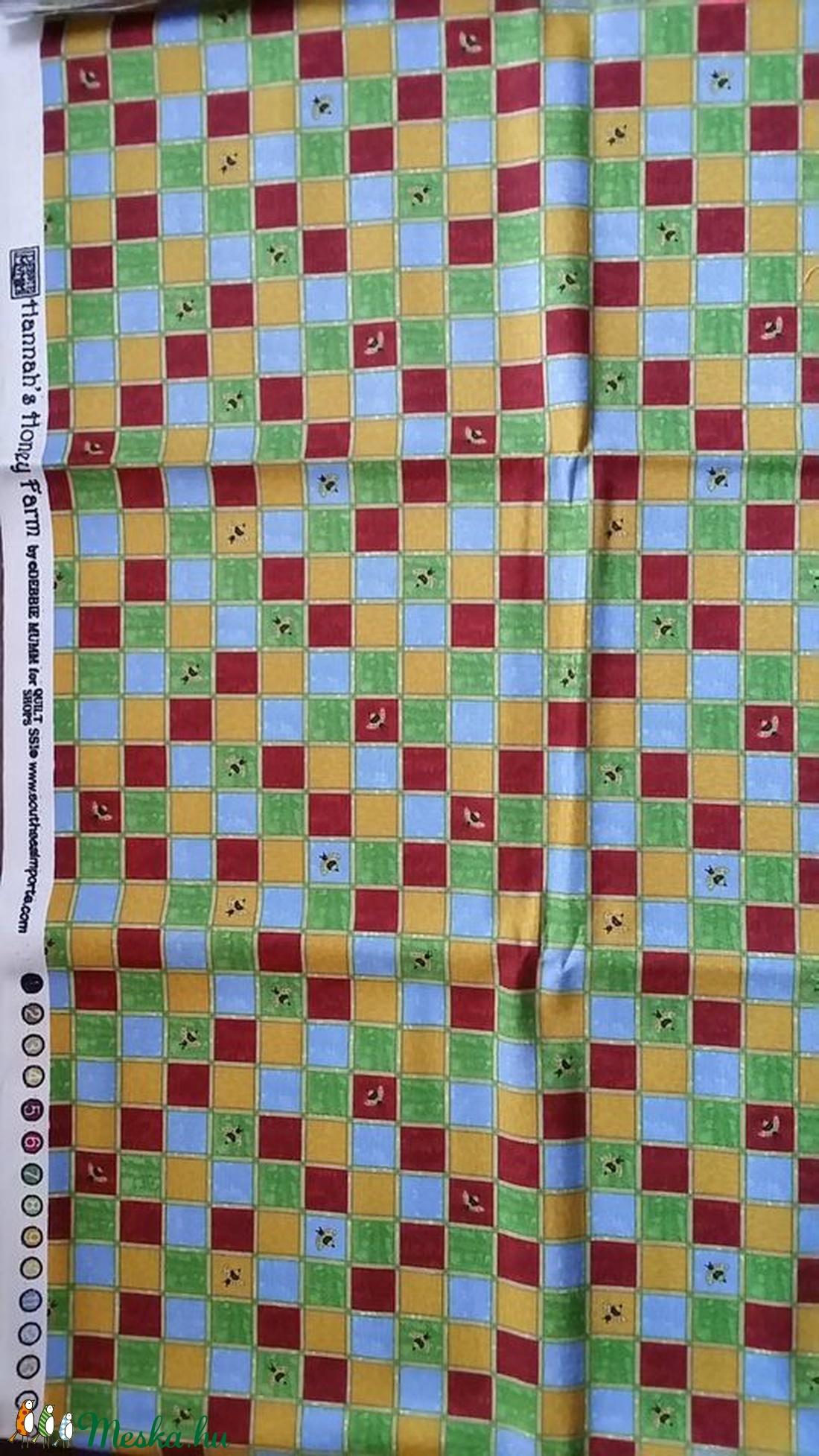 Kockás - méhecskés - Debbie Mom design - USA design textil 110 cm széles  - textil - pamut - Meska.hu