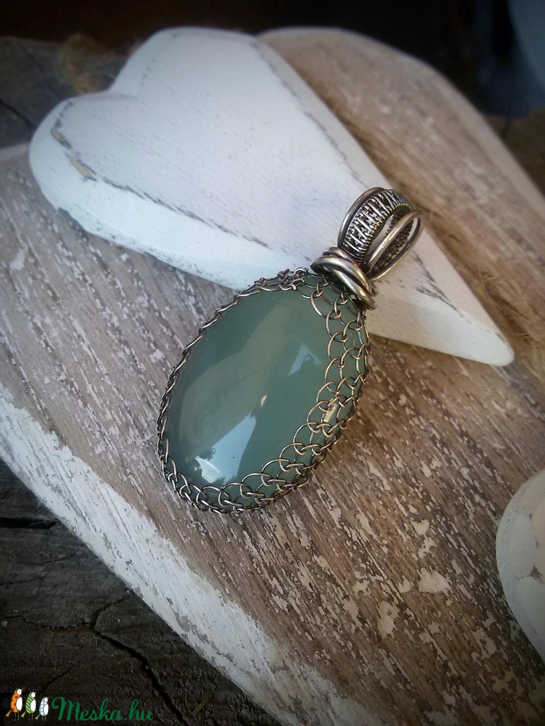 Sea - aqua calcedony ezüst medál - 925-ös ezüst (Mandaladrotekszer) - Meska.hu