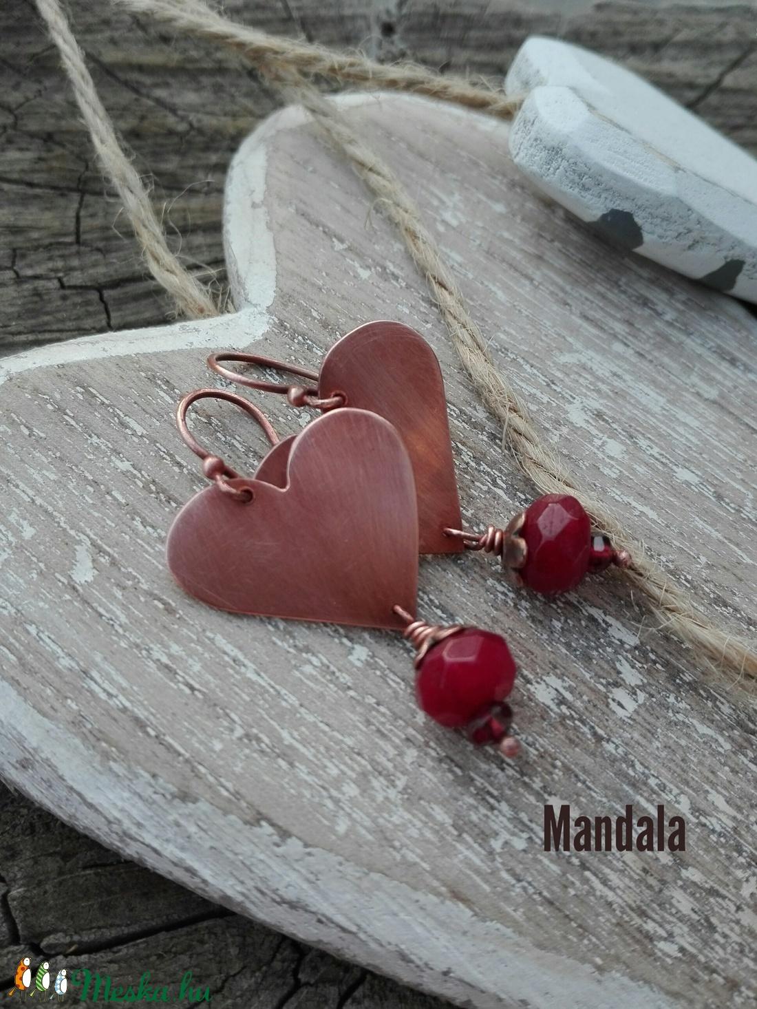 Szív réz fülbevaló (Mandaladrotekszer) - Meska.hu
