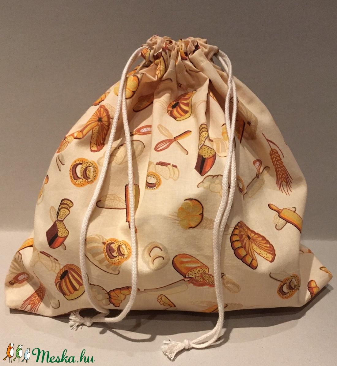 Péksütemény/0,5 kg-os kenyeres zsák - drapp alapon péksütemény mintás (marvika) - Meska.hu