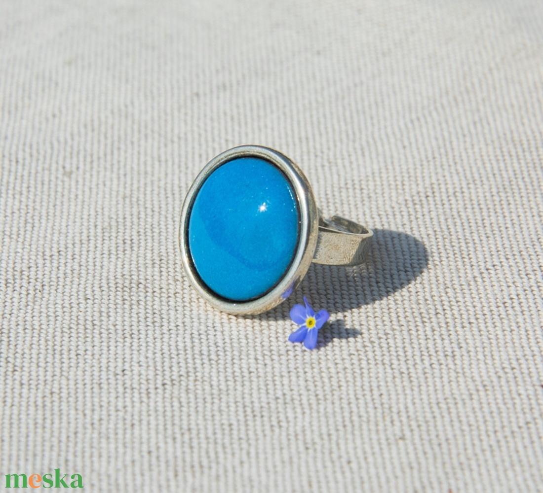 Türkiz kék kerek tűzzománc gyűrű  (MatisZomanc) - Meska.hu