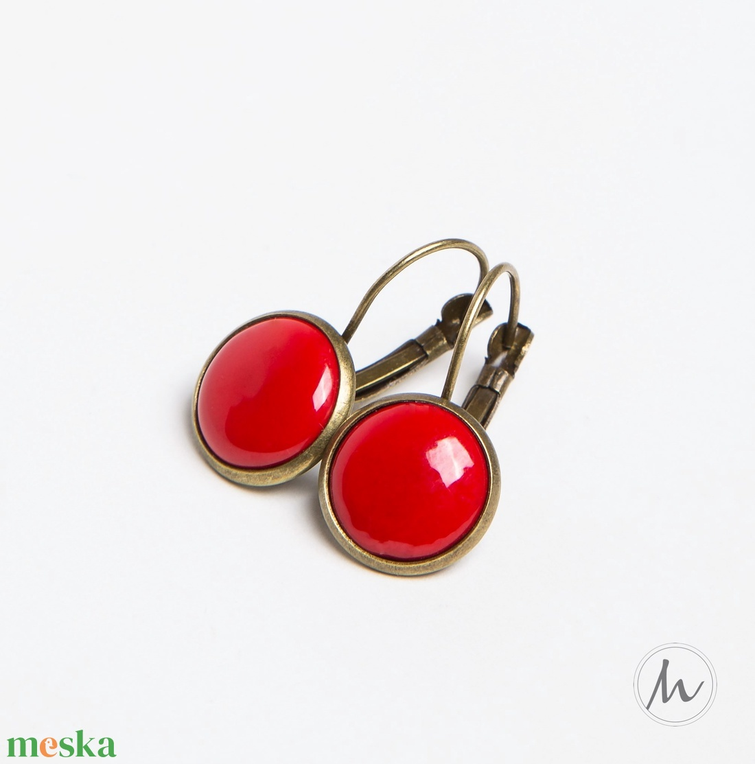 Piros tűzzománc francia kapcsos fülbevaló - ékszer - fülbevaló - lógó fülbevaló - Meska.hu