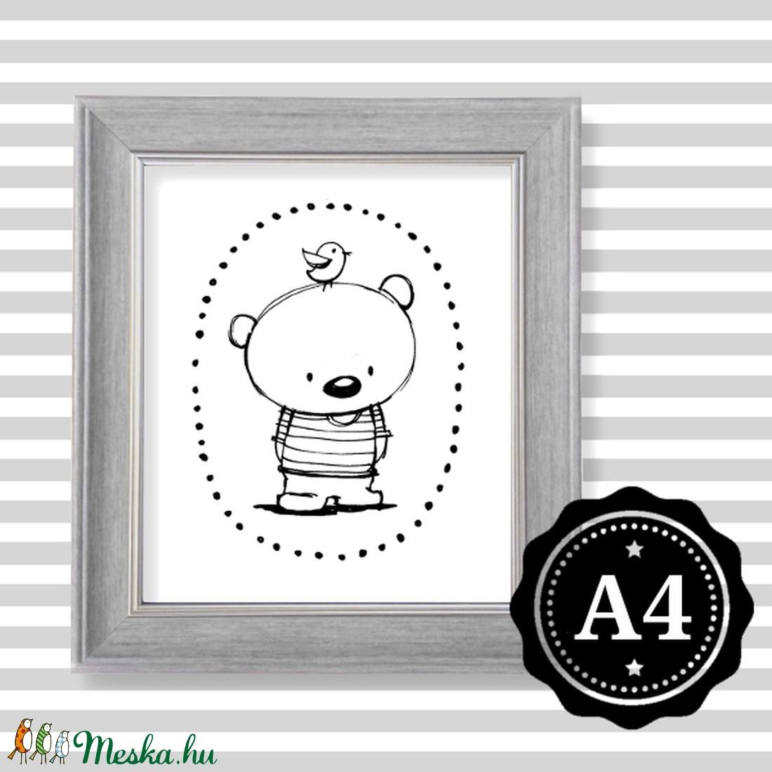Illusztráció repró reprodukció nyomat print grafika festmény fekete fehér medve maci mackó (meilingerzita) - Meska.hu