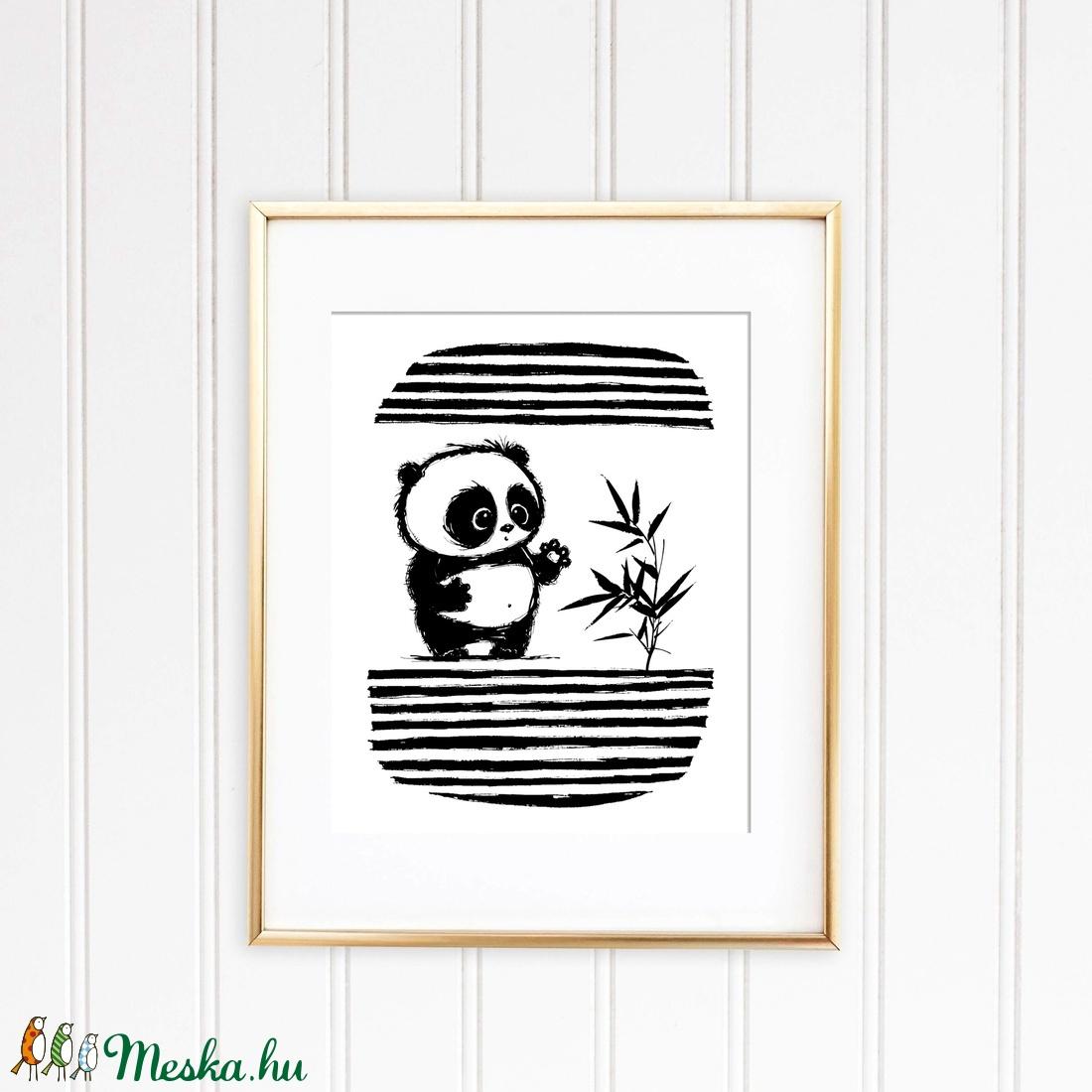Panda illusztráció repró reprodukció nyomat print grafika festmény fekete fehér (meilingerzita) - Meska.hu