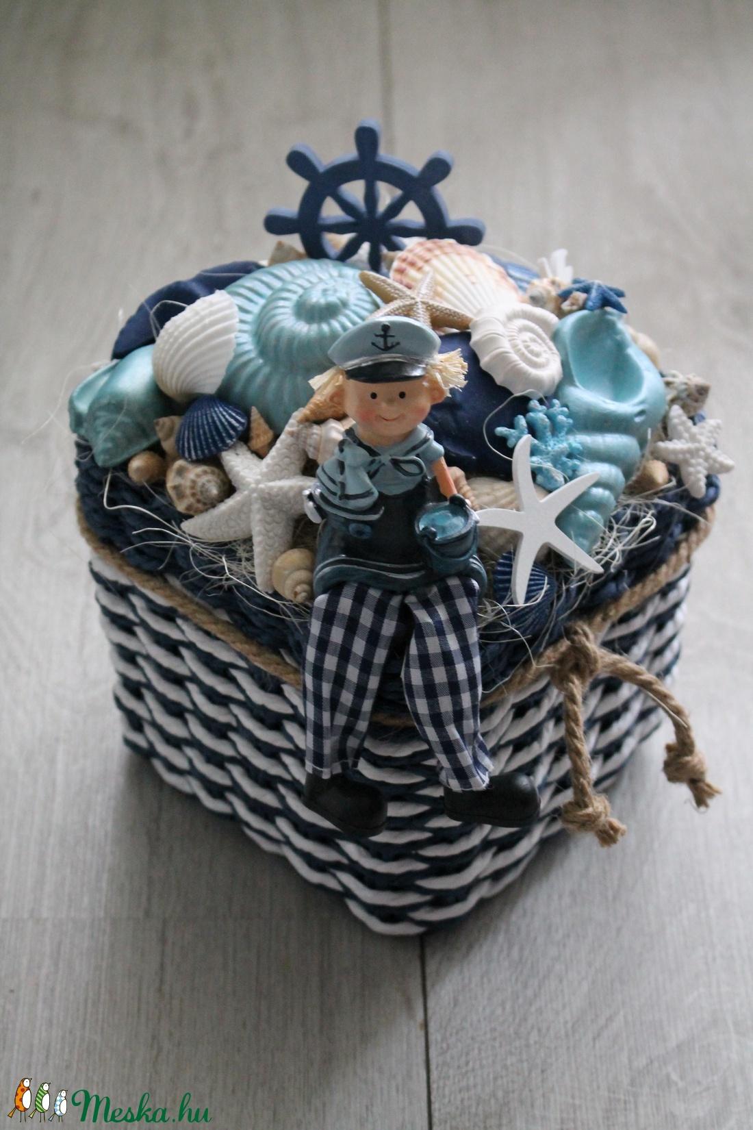Nyári kagylós asztaldísz, tengerész dekoráció - otthon & lakás - dekoráció - asztaldísz - Meska.hu