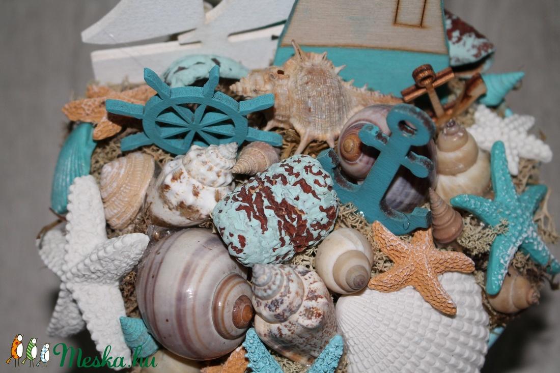 Nyári kagylós asztaldísz, tengeri asztaldekoráció - otthon & lakás - dekoráció - asztaldísz - Meska.hu