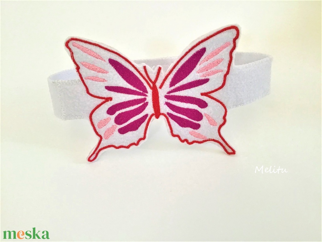 Fehér pillangó fejpánt - maszk, arcmaszk - Meska.hu