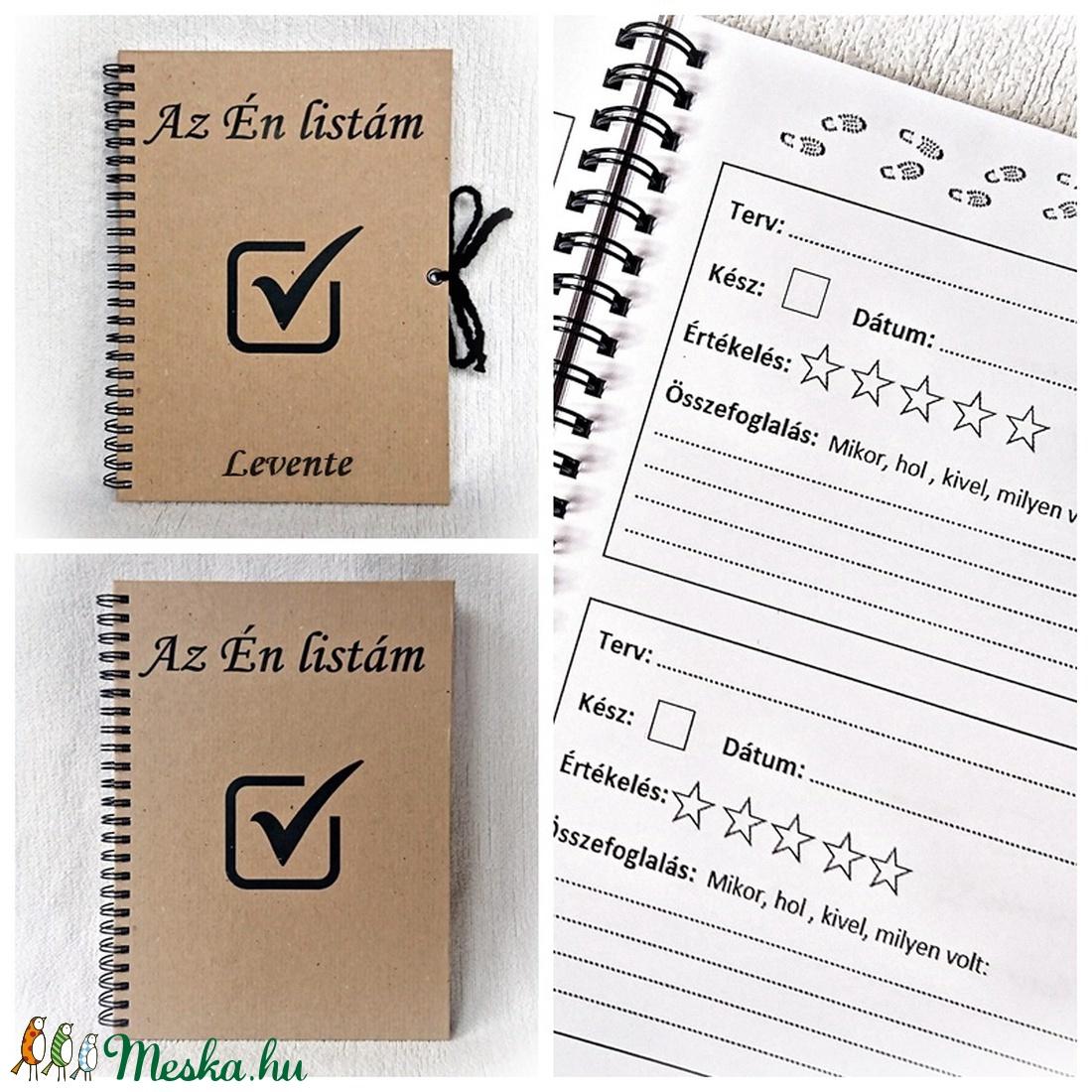Bakancslista napló, nyomtatott lapokkal, KÉSZ- PIPA jellel a borítón,születésnap, karácsony, ballagás, A5 méret - otthon & lakás - papír írószer - jegyzetfüzet & napló - Meska.hu