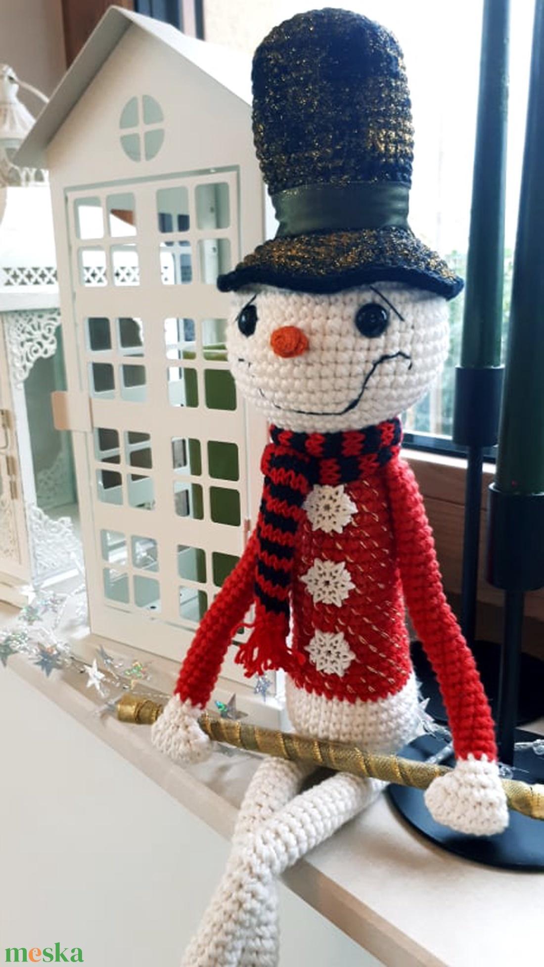 Horgolt csodaszép karácsonyi hóember! - karácsony - mikulás - Meska.hu